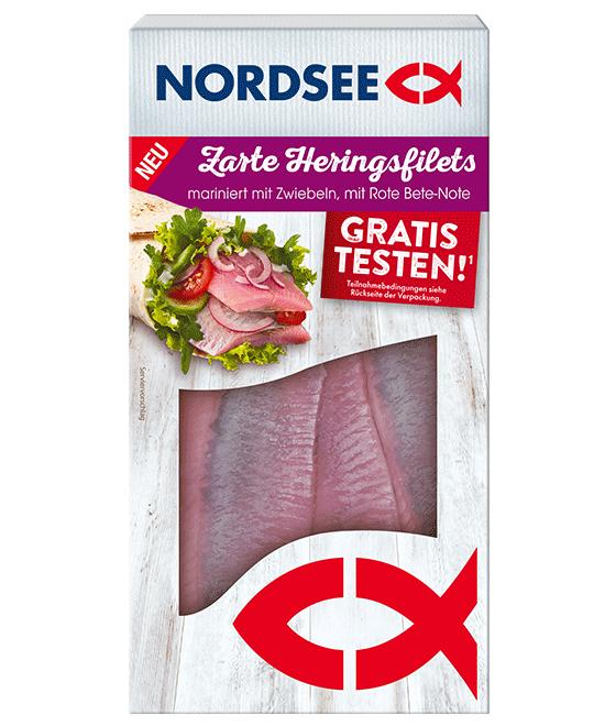 Small NORDSEE Zarte Heringsfilets mariniert Zwiebel Rote Bete Note Promo drauf